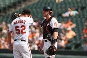 Brian Matusz and Matt Wieters at Baltimore Orioles v/s Cleveland Indians.
