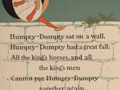 Humpty Dumpty, shown as a riddle with answer, in a 1902 Mother Goose story book by William Wallace Denslow
