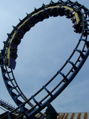 English: Carolina Cyclone's second loop at Carowinds. The only requirement of this license is that you give me credit, otherwise the image is free.