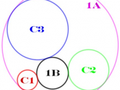 New version of Image:Apollonius_solutions_1AB.png, in which the three given circles (C1, C2, C3) and the solution circles (1A, 1B) are labeled and color-coded.