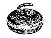 English: Line art drawing of a curling stone.