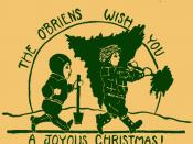 1930 Christmas Card. I'm using this to send the same wish to my Flickr friends. I was 6 that year and my brother 2. Mother drew the picture.