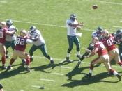 Philadelphia Eagles quarterback Donovan McNabb passes the ball during a regular season game against the San Francisco 49ers. The Eagles won 40-26.