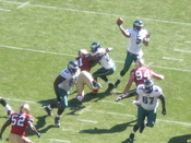 Philadelphia Eagles quarterback Donovan McNabb passes for a touchdown during a regular season game against the San Francisco 49ers. The Eagles won 40-26.