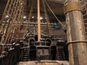 English: View from the middle of the weather deck of the warship Vasa, displayed in the Vasa Museum in Stockholm, Sweden. Picture taken on board the ship on the starboard side just in front of the mainmast. Svenska: Vy från mitten av väderdäcket på krigss