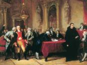 Boceto del pintor venezolano Martín Tovar y Tovar para un cuadro sobre la firma del acta de independencia