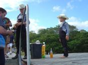 Children in a Mennonite community selling peanuts near Lamanai in Belize.