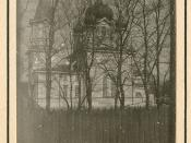 [Church building and fence]