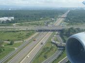 Autobahn A5 in Frankfurt, Germany seen from a plane landing.