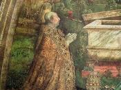 Detail of fresco Resurrection in the Borgia Apartment showing Alexander VI in prayer
