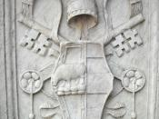 English: Coat of Arms of Pope Alexander VI Borgia - Castel Sant'Angelo, Rome