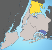 The Bronx is shown in yellow.