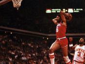 English: Julius Erving in 1981 performing a slam dunk against the Atlanta Hawks at Omni Coliseum.