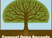 Open Records emblem used in Adoptee Rights Protest, New Orleans, 2008, artist: D. Martin.