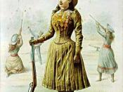 Approx. second half of 1880s poster showing Annie Oakley wearing short-skirted attire