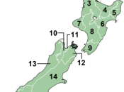 vector map of local government regions of New Zealand. Based on Image:NZ_Regions.svg by Ozhiker