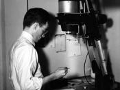 Enlarging a B/W Negative, 1950 or 1951. : Using my Omega D2 enlarger in 1950 or 1951, I had a variety of devices to dodge and burn on almost every negative. After the exposure it took 2-3 minutes to see the result after processing through developer, short