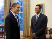 President Barack Obama greets professional golfer Tiger Woods in the Oval Office Monday, April 20, 2009. The 14-time major winner visited the White House Monday following a press conference for the AT&T National, the PGA Tour event Woods hosts at Congress