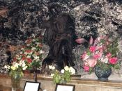 A statue in the Cave of Elijah. The cave is located on Mount Carmel, Haifa, Israel.