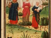 English: Illustration of Elkanah and his two wives returning to Ramah, manuscript Den Haag, KB, 78 D 39.