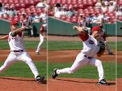 Anticipation: A baseball player making a pitch prepares for the action by moving his arm back.