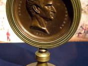 English: The Fort Sumter Medal bearing the likeness of Major Robert Anderson, and presented to Abner Doubleday. It was issued by the State of New York Chamber of Commerce. The inscription on the medal reads,