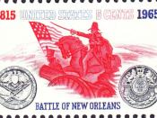English: 1965 United States stamp commemorating the sequicentennial of the Battle of New Orleans and 150 years of British-U.S. peace.