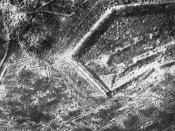 Aerial photograph of Fort Douaumont towards the end of 1916. North is approximately at top.