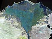 English: Landsat 7 false colour image of the Nile Delta