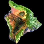 This simulated true-color image of the island of Hawai'i was derived from data gathered by the Enhanced Thematic Mapper plus (ETM+) on the Landsat 7 satellite between 1999 and 2001.
