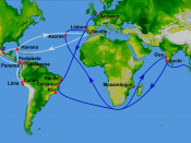 Map showing main Portuguese (blue) and Spanish (white) oceanic trade routes in the 16th century, as a result of the exploration during the Age of Discovery; PIA03395: World in Mercator Projection, Shaded Relief and Colored Height