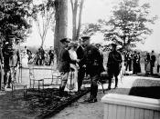 The Prince of Wales greeting General Currie at Government House, Ottawa, Ontario, August 1919 / Le prince de Galles saluant le général Currie à la résidence du Gouverneur général à Ottawa, Ontario, août 1919