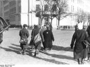 World War II 1939-1945. Persecution of Jews under the fascist German occupation troops in the Soviet Union. Riga, Latvia Soviet Socialist Republic: Jewish citizens may not use the sidewalks, but instead must walk in the roadway. Photographed in 1942.