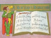 English: New Year's Day postcard. Reads: