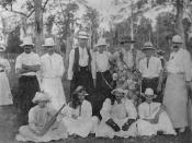 English: Men dressed in womens' clothes at a picnic cricket match, Yandina, ca. 1907. Standing, left to right: B. Nichols, Bill Brayden, Bob Ablin, Ewen Low, D.L. Best, Bill Cox, J. McNab. Seated, left to right: J. Corrigan, E. Nichols, O. Cowley, H. Mant