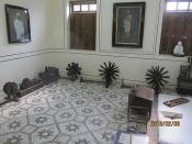 Gandhi's room with his spinning wheels