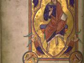 Christ in majesty, still with no beard, from an English 12th century illuminated manuscript.