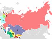 Post-Soviet states in alphabetical order: 1. Armenia, 2. Azerbaijan, 3. Belarus, 4. Estonia, 5. Georgia, 6. Kazakhstan, 7. Kyrgyzstan, 8. Latvia, 9. Lithuania, 10. Moldova, 11. Russia, 12. Tajikistan, 13. Turkmenistan, 14. Ukraine, 15. Uzbekistan