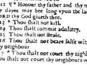 English: A section of a page from the Wicked Bible of 1631. The image is not copyrighted due to the age of the work. The section highlights a contemporary typographical error insofar as it omits the word not from the commandment
