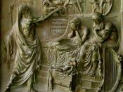 Thou shalt not commit adultery (Nathan confronts David); bronze bas-relief on the door of the Madeleine Place de La Madeleine, Paris.