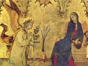 Detail of the Annunciation (1333) by the Sienese Simone Martini, Uffizi.