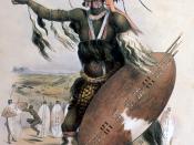 English: Zulu Warrior Utimuni, nephew of Shaka, the Zulu king. Afrikaans: Zoeloekoning Sjaka se neef, Utimuni, 'n Zoeloekryger.