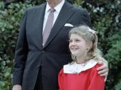 English: President Reagan with Drew Barrymore at a ceremony launching the Young Astronauts program on the south lawn. October 17, 1984