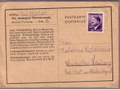 Deutsch: Häftlingskarte aus dem Pol. Gefängnis Theresienstadt