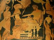 Chryses attempting to ransom his daughter Chryses from Agamemnon. Side A of an Apulian red-figure volute-crater, ca. 360 BC–350 BC, found in Taranto.