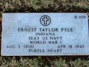 Gravesite of Ernie Pyle, National Memorial Cemetery of the Pacific, Honolulu, Hawaii