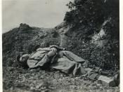 Journalist Ernie Pyle shortly after being killed on Ie Shima, April 18, 1945