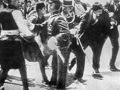 English: Gabro Princip just arrested by police, after his successfull attempt on life of prince Franz Ferdinand of Habsburg in Sarajevo.