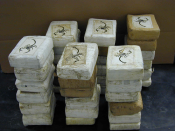Shipment of cocaine bricks confiscated by the DEA. The logo is pressumably a symbol of Loaiza-Ceballos.
