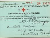 Receipt for World War I Red Cross donation, 1918